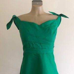 Off the shoulder emerald green silk/cotton dress